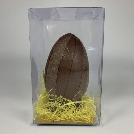 oeuf chocolat à motif plume
